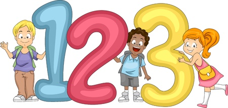 cartoon number: Illustration of Kids Posing with Numbers