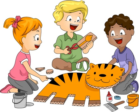 learning materials: Illustration of Kids Practicing Paper Craft Stock Photo