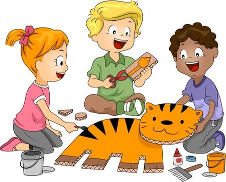 niños en la escuela: Ilustración de niños practicando papel artesanal Foto de archivo