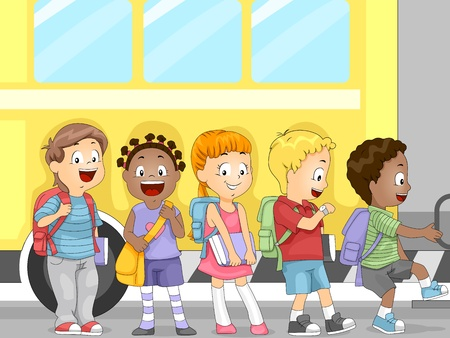 cartoon school girl: Illustration of Kids Waiting to Get in the Bus