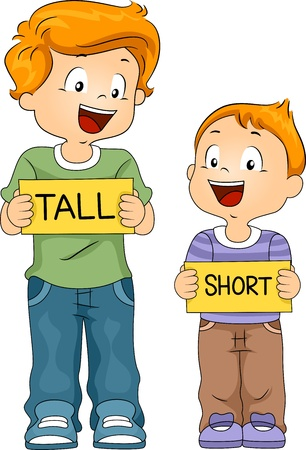tall and short: Illustration of Kids Holding Flash Cards
