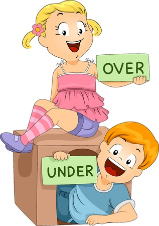 Illustration of Kids Holding Flashcards illustration
