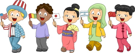 chinese american: Illustration of Kids Representing Different Nations Stock Photo