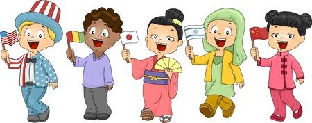 bandera japon: Ilustraci�n de ni�os representando a diferentes Naciones