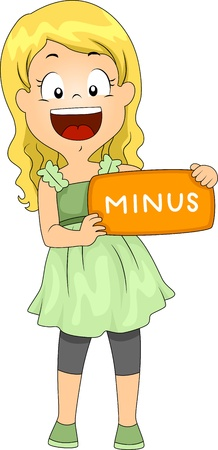 minus sign: Illustration of a Girl Holding a Minus Sign
