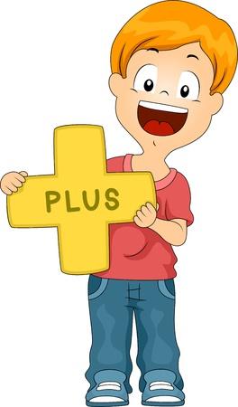 Illustration of a Kid Holding a Plus Sign illustration