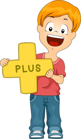 addition: Illustration of a Kid Holding a Plus Sign