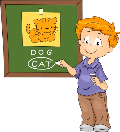 pre school: Illustration of a Kid Identifying the Animal on the Board