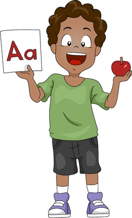 pre school: Illustration of a Kid Holding an Apple and a Flashcard