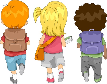mochila escolar: Ilustración de los niños a la escuela
