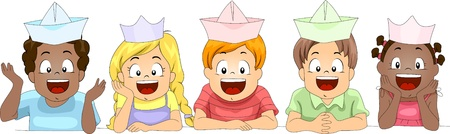 Illustration of Kids Wearing Paper Hats illustration