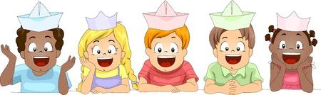 paper hats: Illustration of Kids Wearing Paper Hats