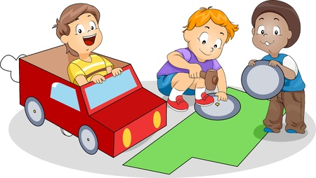 pre school: Illustration of Kids Making Paper Kart