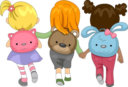 cartoon school girl: Illustration of Kids Wearing Schoolbags with Animal Designs Stock Photo