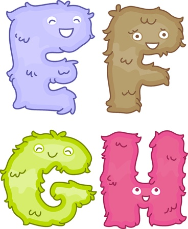 plushie: Illustration of Plush Toys Shaped Like Letters