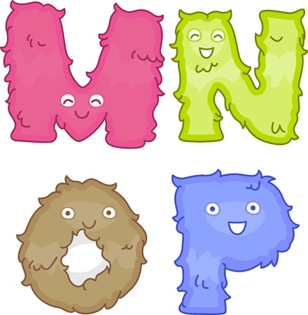 kindergarten toys: Illustration of Plush Toys Shaped Like Letters