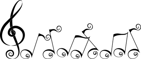 Illustration Featuring Silhouettes of Music Notes illustration