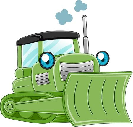 construction equipment: Illustration of a Bulldozer Charging Ahead Stock Photo