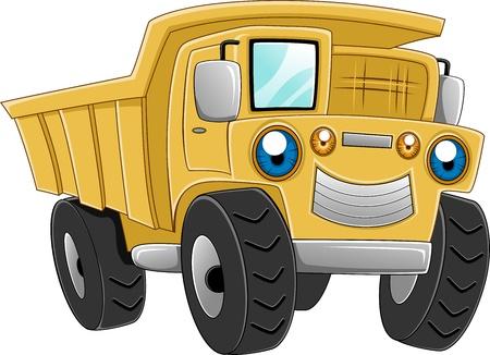 camion de basura: Ilustraci�n de un cami�n feliz Foto de archivo