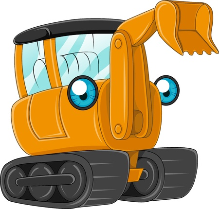 diggers: Illustration of an Excavator at Work Stock Photo