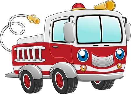 camion caricatura: Ilustración de un Firetruck listo para la acción