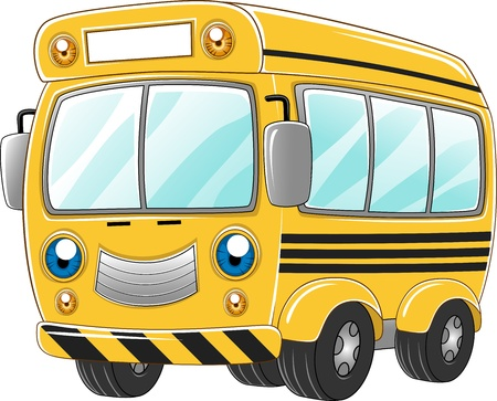 shuttle: Illustration of a Happy School Bus