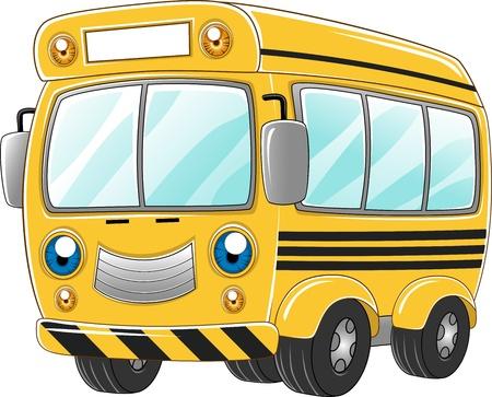 autobus escolar: Ilustraci�n de un autob�s escolar feliz
