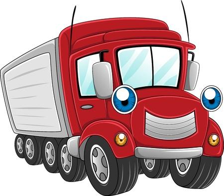 lorry: Illustrazione di un camion rimorchio al lavoro