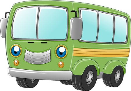 minibus: Illustration of a Happy Van Stock Photo