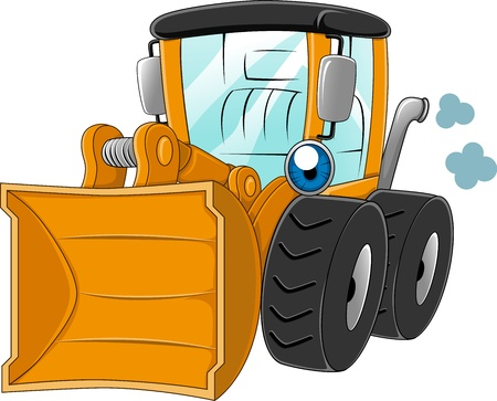 heavy equipment: Illustration of a Wheel Loader at Work Stock Photo