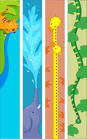 serpiente caricatura: Ilustración de banner con un tigre, un elefante, jirafas y una serpiente Foto de archivo