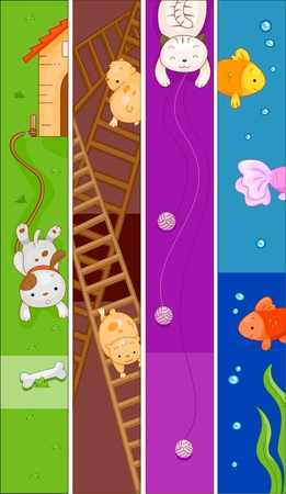 hamsters: Banner Illustration Featuring Different Animals Stock Photo