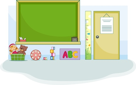 school classroom: Illustration of a Cute Preschool Classroom Stock Photo