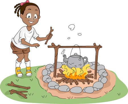 Illustration of a Kid Boiling Water illustration