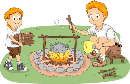 family cartoon: Illustration of CounselorFather and Child Boiling Water at Camp Stock Photo