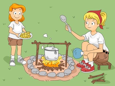 outdoor activities: Illustration of a Kid Helping Her CounselorCamp Leader Cook Stock Photo