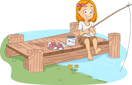 fly fishing: Illustration of a Kid Fishing