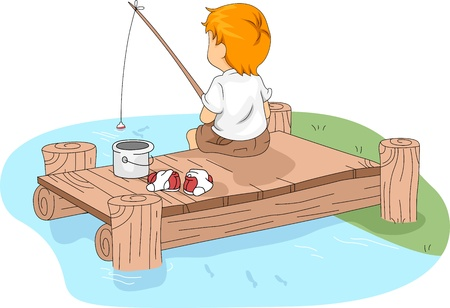 Illustration of a Kid Fishing illustration