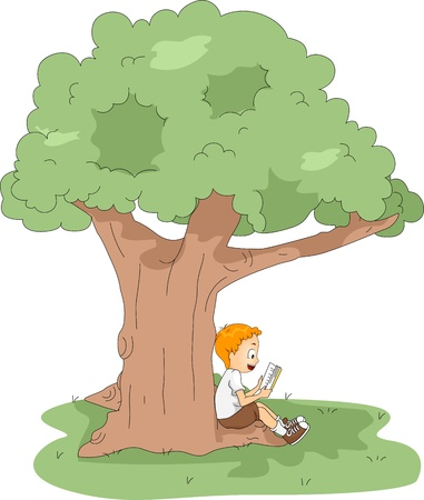 attendee: Illustration of a Kid Reading a Book at Camp