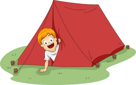 camping tent: Illustration of a Boy Peeking From a Tent