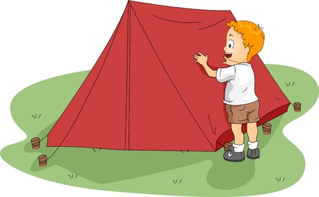 Illustration of a Kid Fixing His Tent illustration