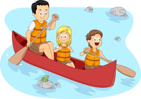 canoeing: Illustration of Campers Boating