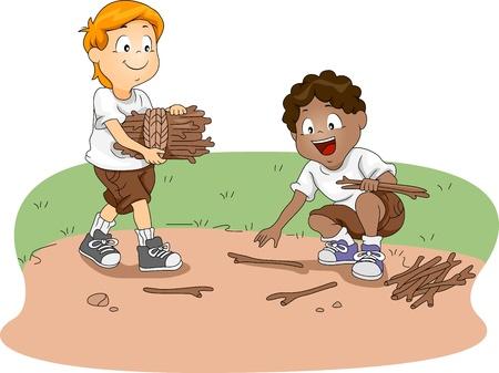 woodpile: Illustration of Kids Gathering Firewood Stock Photo