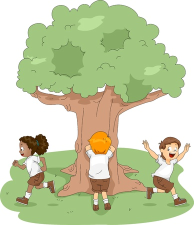hide and seek: Illustration of Kids Playing Hide and Seek at Camp