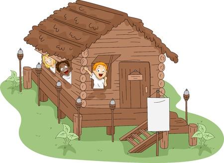 campamento de verano: Ilustraci�n de los ni�os en una casa de campo Foto de archivo