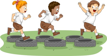 boot camp: Illustration of Kids in an Obstacle Course