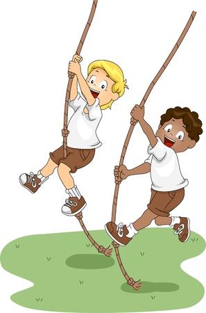 buddies: Illustration of Kids Holding on to Swinging Ropes