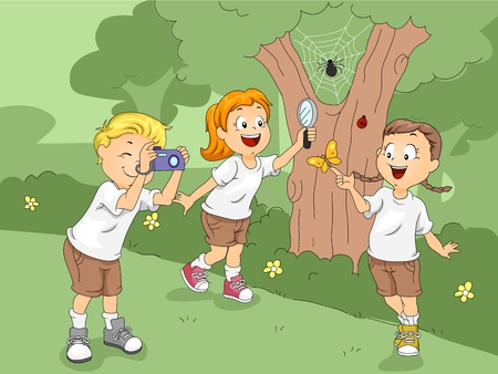 Illustration of Kids Exploring a Camp Stock Illustration - 10560232