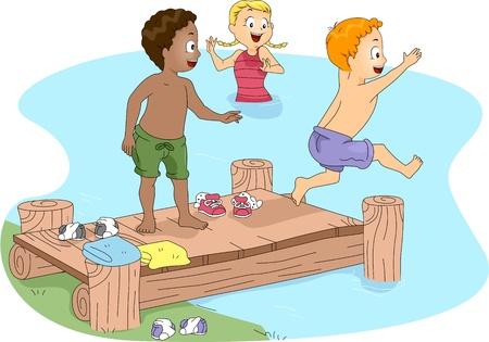 campsite: Illustration of Kids Swimming