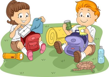 campsite: Illustration of Kids Unpacking their Belongings